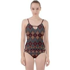 Knitted Pattern Cut Out Top Tankini Set