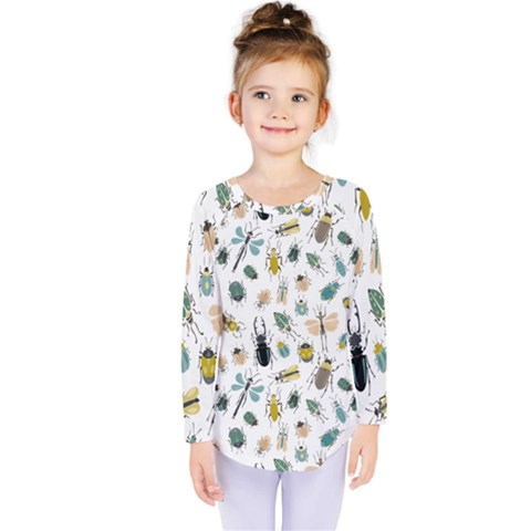 Insect Animal Pattern Kids  Long Sleeve Tee by BangZart