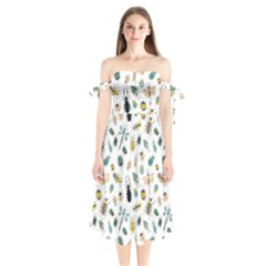 Insect Animal Pattern Shoulder Tie Bardot Midi Dress