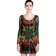 Kaleidoscope Patterns Colors Long Sleeve Bodycon Dress by BangZart