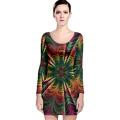 Kaleidoscope Patterns Colors Long Sleeve Velvet Bodycon Dress by BangZart