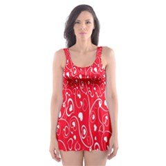 Heart Pattern Skater Dress Swimsuit by BangZart