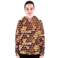Honey Honeycomb Pattern Women s Zipper Hoodie by BangZart