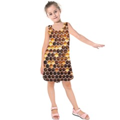Honey Honeycomb Pattern Kids  Sleeveless Dress
