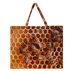 Honey Bees Zipper Large Tote Bag