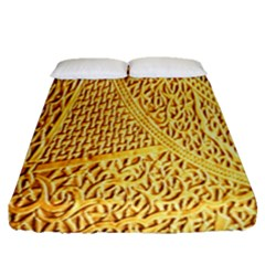 Gold Pattern Fitted Sheet (queen Size) by BangZart