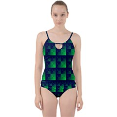 Fractal Cut Out Top Tankini Set