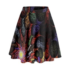 Fractal Swirls High Waist Skirt
