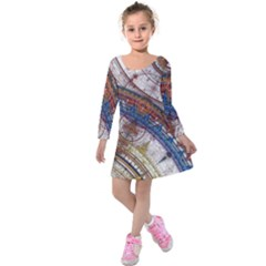 Fractal Circles Kids  Long Sleeve Velvet Dress