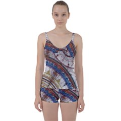 Fractal Circles Tie Front Two Piece Tankini by BangZart