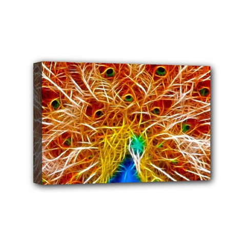 Fractal Peacock Art Mini Canvas 6  X 4  by BangZart