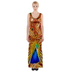 Fractal Peacock Art Maxi Thigh Split Dress
