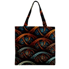 Fractal Art Pattern Flower Art Background Clored Zipper Grocery Tote Bag