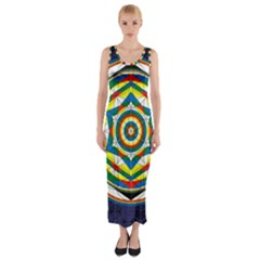 Flower Of Life Universal Mandala Fitted Maxi Dress