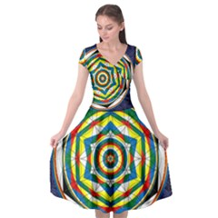 Flower Of Life Universal Mandala Cap Sleeve Wrap Front Dress by BangZart