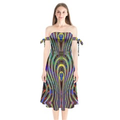 Curves Color Abstract Shoulder Tie Bardot Midi Dress