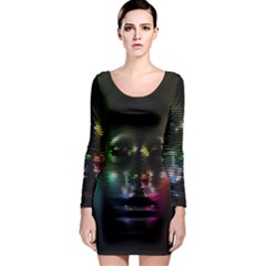 Digital Art Psychedelic Face Skull Color Long Sleeve Bodycon Dress by BangZart