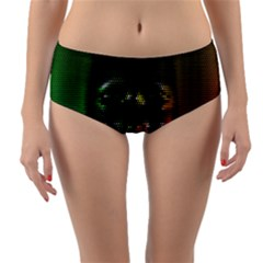 Digital Art Psychedelic Face Skull Color Reversible Mid-waist Bikini Bottoms