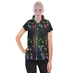 Digital Art Psychedelic Face Skull Color Women s Button Up Puffer Vest