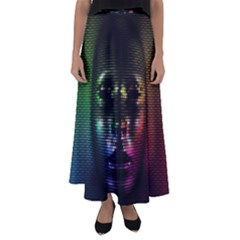 Digital Art Psychedelic Face Skull Color Flared Maxi Skirt
