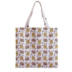 Cute Hamster Pattern Zipper Grocery Tote Bag