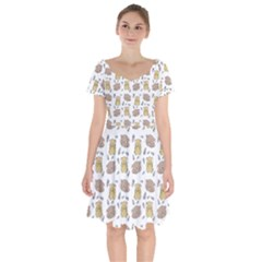 Cute Hamster Pattern Short Sleeve Bardot Dress