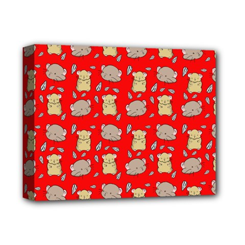 Cute Hamster Pattern Red Background Deluxe Canvas 14  X 11  by BangZart