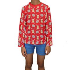 Cute Hamster Pattern Red Background Kids  Long Sleeve Swimwear by BangZart