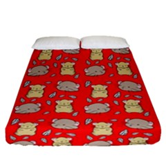 Cute Hamster Pattern Red Background Fitted Sheet (queen Size)