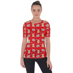 Cute Hamster Pattern Red Background Short Sleeve Top