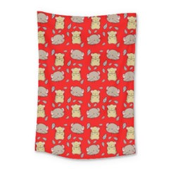 Cute Hamster Pattern Red Background Small Tapestry