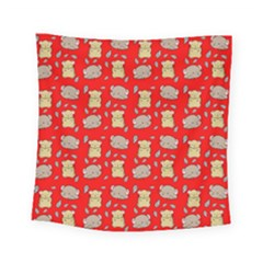 Cute Hamster Pattern Red Background Square Tapestry (small)