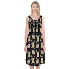 Cute Hamster Pattern Black Background Midi Sleeveless Dress