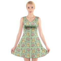 Cute Hamster Pattern V Neck Sleeveless Skater Dress