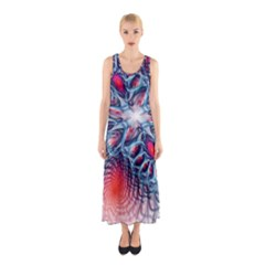 Creative Abstract Sleeveless Maxi Dress