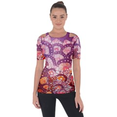 Colorful Art Traditional Batik Pattern Short Sleeve Top