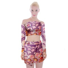 Colorful Art Traditional Batik Pattern Off Shoulder Top With Skirt Set