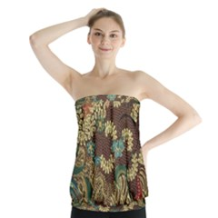 Colorful The Beautiful Of Art Indonesian Batik Pattern Strapless Top