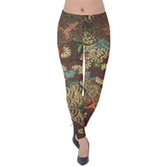 Colorful The Beautiful Of Art Indonesian Batik Pattern Velvet Leggings