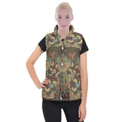 Colorful The Beautiful Of Art Indonesian Batik Pattern Women s Button Up Puffer Vest