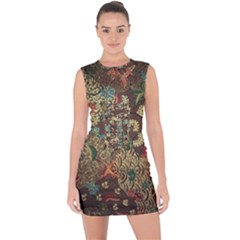 Colorful The Beautiful Of Art Indonesian Batik Pattern Lace Up Front Bodycon Dress by BangZart