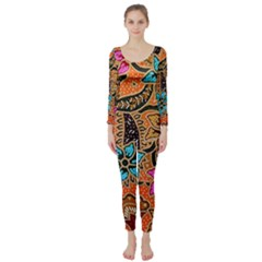 Colorful The Beautiful Of Art Indonesian Batik Pattern(1) Long Sleeve Catsuit