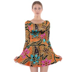 Colorful The Beautiful Of Art Indonesian Batik Pattern(1) Long Sleeve Skater Dress