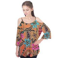 Colorful The Beautiful Of Art Indonesian Batik Pattern(1) Flutter Tees