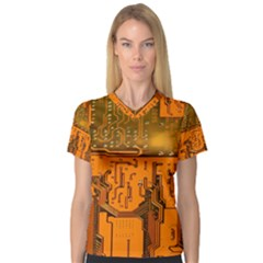 Circuit Board Pattern V Neck Sport Mesh Tee