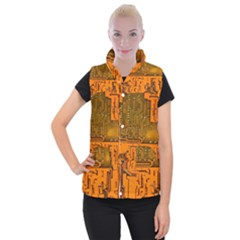 Circuit Board Pattern Women s Button Up Puffer Vest