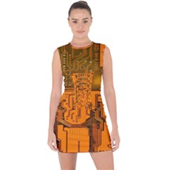 Circuit Board Pattern Lace Up Front Bodycon Dress