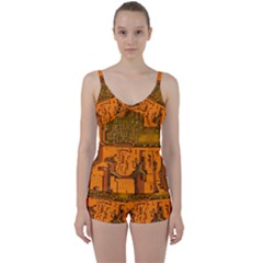 Circuit Board Pattern Tie Front Two Piece Tankini