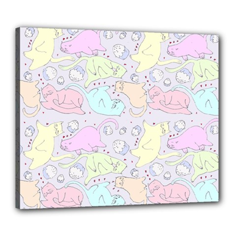 Cat Animal Pet Pattern Canvas 24  X 20  by BangZart