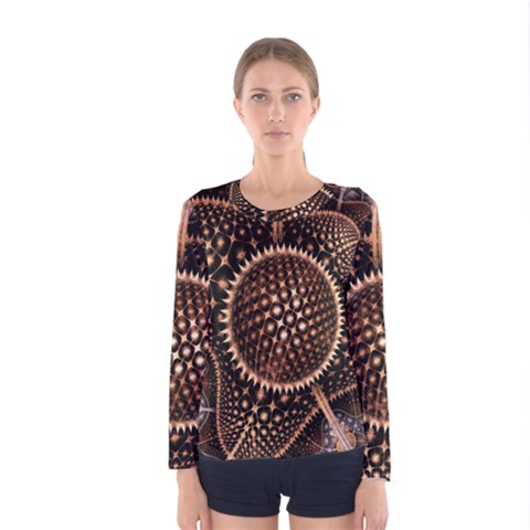 Brown Fractal Balls And Circles Women s Long Sleeve Tee by BangZart